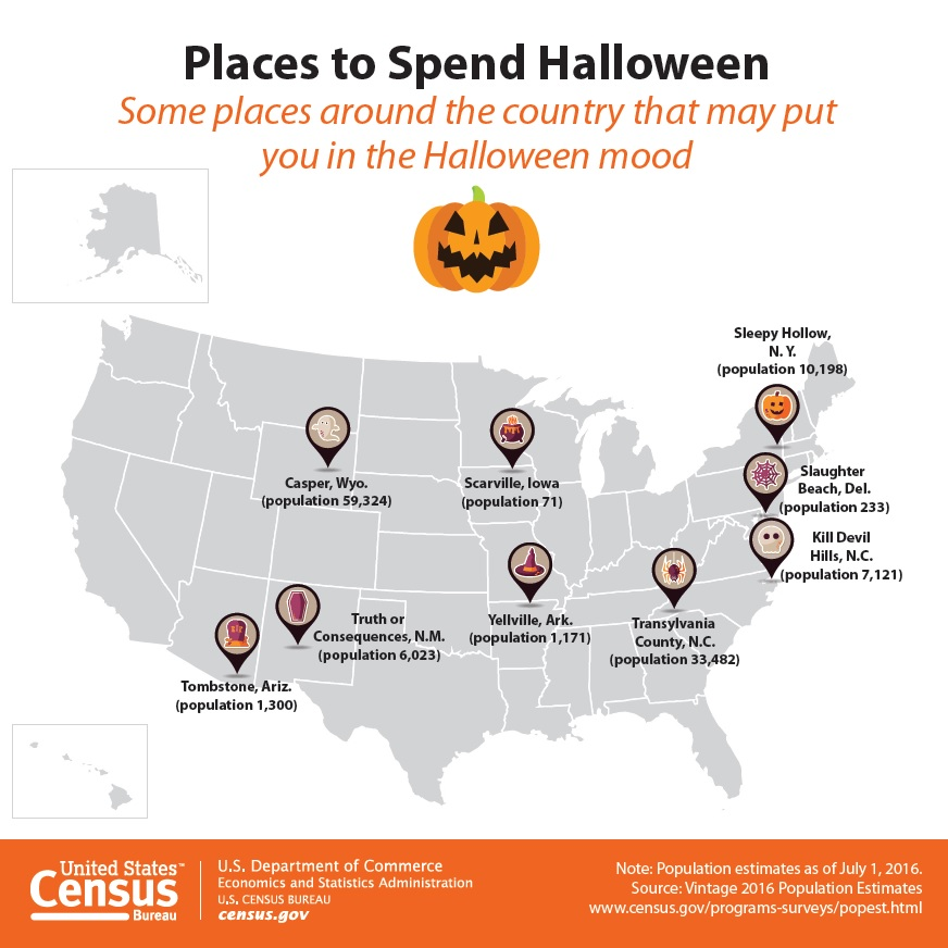 US map of Halloween themed city names